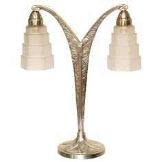 Art Deco Two-Armed Table Lamp | From a unique collection of antique and modern table lamps at http://www.1stdibs.com/furniture/lighting/table-lamps/