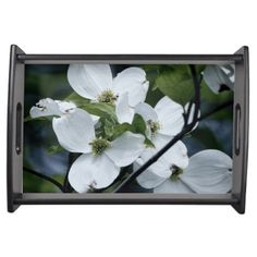This beautiful serving tray features a photographic image branch of pretty white dogwood blossoms.
