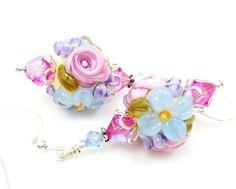 Floral Lampwork Earrings Lampwork Earrings Glass by BeadzandMore,