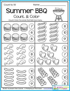 Kindergarten counting worksheets for the month of July. Includes 30 awesome pages of summer themed and Fourth of July counting opportunities. :) Counting Worksheets For Kindergarten, Summer Worksheets, Graphing Worksheets, Alphabet Tracing Worksheets, Writing Lines, Upper And Lowercase Letters, Learn To Count, Math Resources, Business For Kids