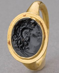 Hellenistic Gold Ring with Onyx Intaglio. This and more important ancient Jewelry for sale on CuratorsEye.com