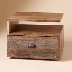 AGED WOOD, NEW DREAMS NIGHTSTAND -- Hardwoods reclaimed from Brazilian telephone poles and fallen black walnut trees...