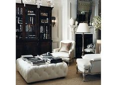 Ralph Lauren Home Home Collections, White Ottoman, Tufted Ottoman Coffee  Table, Oversized Ottoman