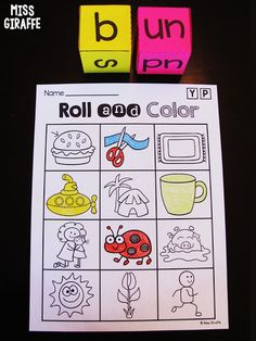 Roll and color short U words game for kids