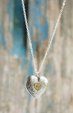 Initial Silver Heart Locket Pendant Bridal Wedding Necklace  , Love Jewelry for Bridesmaid Gift