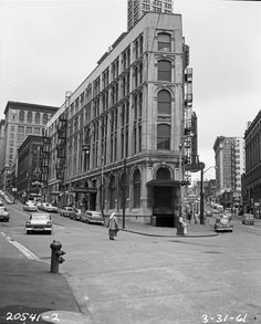 March 31, 1961 shows us the Seattle Hotel. The demolition of this 1890 building was one of the catalysts for the historic preservation of Pioneer Square. Courtesy Seattle Municipal Archives, item 66611