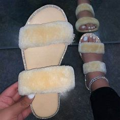 Bling Sandals, Sandals Outfit, Cute Sandals, High Sandals, Bling Shoes, Fluffy Sandals, Fluffy Shoes, Crazy Shoes, Me Too Shoes
