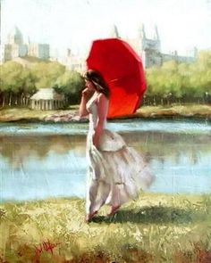 Lady in white with a red umbrella.