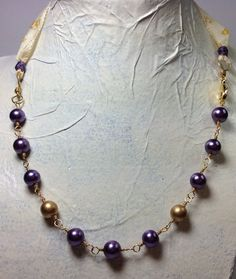 Purple and gold vintage looking necklace glass by GingerandNoise, $25.00