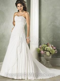 Ball Gown Sweetheart Ruffles Sequin Taffeta Court Train Wedding Dress at Millybridal.com