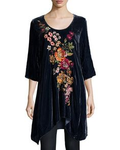 a1041b2be16bb5 JWLA For Johnny Was Michelle Embroidered Velvet Tunic Boho Womens Clothing,  Hippie Style Clothing,