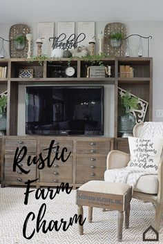 Add #rustic farm charm to your living room with the Keeblen entertainment center. This piece will add eclectic character and retro charm to your farmhouse. Add greenery and accessories to complete the look.