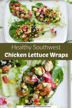 Chicken lettuce wraps are a great healthy dinner for the whole family! This healthy rendition features spicy chicken, black beans, veggies, and a creamy jalapeno sauce. #lettucewraps #chickendinner #healthydinner