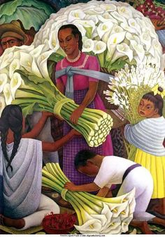 the fleur seller Diego Rivera Peinture Tableau en Vente