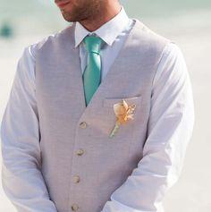 Shells and starfish for the stylish groom