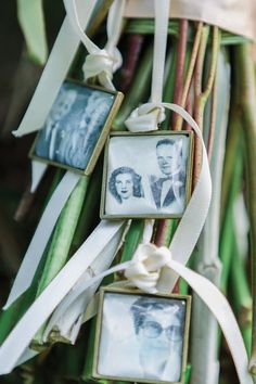 Framed photos of beloved relatives, tied to ribbons in the bridal bouquet, make touching memories. Photo by Mon Petit Studio.