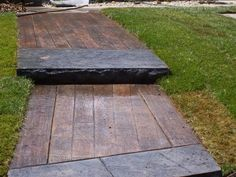 Wood Plank Sidewalk | Stamped Concrete or Deck Boards with a 6x6 at the step?
