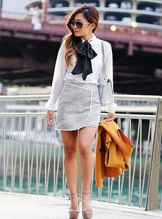 A Pussy-Bow blouse that's simple and chic