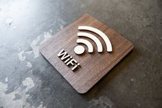 Free Wifi Wireless Internet Sign - Various Sizes & Finishes Available - Modern Wood Signage - Cafe Coffee Shop and Restaurant Signs Floor Signage, Cafe Signage, Store Signage, Signage Design, Cafe Design, Rustic Design, Bathroom Storage Solutions, Modern Cafe, Restaurant Signs