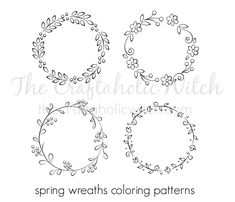 Spring Wreath Coloring Patterns | The Craftaholic Witch