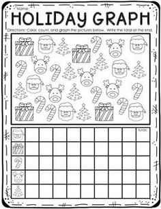 Your students will enjoy this cute holiday graph activity!  Students will color the holiday pictures, count the objects, and graph and total them below.    Happy Teaching! Love, Bethany