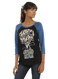 Disney Up Adventure Is Out There Girls Reversible Raglan, BLACK