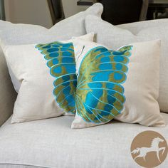 @Overstock.com.com - Christopher Knight Home Embroidered Wings Pillows (Set of 2) - This colorful set of embroidered butterfly pillows features a linen blend and hidden zipper detail fo
