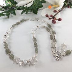 """Spring Sale on now! Moss agate, clear quartz, and sterling silver in a """"fresh for spring"""" styled necklace. Soft colours and sparkly details will make this beauty an everyday favourite! Bohemian Jewelry, Wire Jewelry, Boho, Unique Jewelry, Silver Pendant Necklace, Gemstone Necklace, Beaded Necklace, Sterling Silver Anklet, Silver Anklets"""
