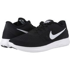Nike Free RN (Black/Anthracite/White) Men's Running Shoes ($60) ❤ liked on Polyvore featuring men's fashion, men's shoes, men's athletic shoes, black, mens black athletic shoes, mens white running shoes, mens shoes, mens white shoes and mens athletic shoes