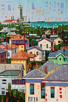 """""""Emerald View,"""" by Rene' Wiley by René Wiley Gallery Oil ~ 30 x 20 Collage, Naive Art, Art For Art Sake, City Art, Portraits, Landscape Art, Unique Art, Art Lessons, Original Paintings"""