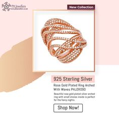 This beautiful rose gold plated silver arched ring with small stones inside is perfect for the fancy nights. Best for smart wear as well as everyday wear and good for any occasion. Shop Now!