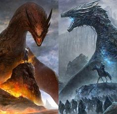 Daenerys & Drogon, Night King & Viserion