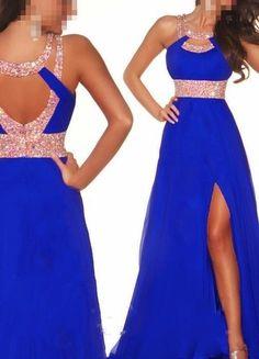 2014 azul nuevo Largo Chifón Dama de honor Noche Formal Fiesta Baile Vestido Baile de graduación Vestido