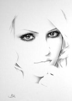 Ilustração + Inspiração :     Ileana Hunter produz retratos realistas, feitos a lápis, com um estilo minimalista.