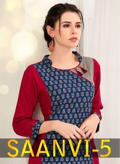 Specification : NAME : Saanvi Vol-5 TOTAL DESIGN : 8 PER PIECE RATE : 425/- FULL CATALOG RATE : 3400/- WEIGHT : 4 SIZE : M | L | XL | XXL | XXXL Type : Printed Kurtis MOQ : Minimum 8 Pcs. Fabric Description : 14 kg Rayon + 14 kg Cotton Print UPCOMING DATE : 30-04-2018