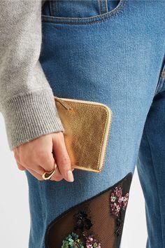 Comme des Garçons - Metallic Textured-leather Wallet - Gold - one size