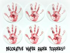 FREE SHIP - Bloody Hand Print 12  Decorative Wafer Paper Toppers  Pre Cut Decorations Toppers Cupcakes Cookies Wedding Dessert HALLOWEEN