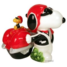 Peanuts Gang Snoopy / Joe Cool & Motorcycle Ceramic Salt & Pepper Shaker Set