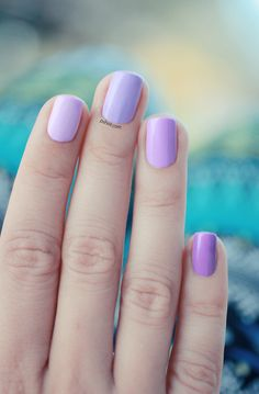 Why pick one purple when you can have four? This ombre nail design playfully pulls together your favorite purples: 'go ginza', 'lilacism', 'bond with whomever', and 'play date'.