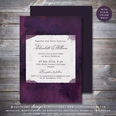 Purple Wedding Invitation, Rustic Wedding Invitation, Barn Wedding Invitation, Vintage Wedding Invitation, Typewriter Wedding Invitation, Boho Wedding Invitation, Whimsical Wedding Invitation by Soumya's Invitations