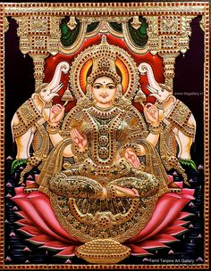 Tanjore Painting using 22 carat original gold foil and embossing, semi precious stone and chettinad teak wood frame. Krishna, Balaji, Durga and more. Mysore Painting, Tanjore Painting, Saraswati Goddess, Goddess Lakshmi, Durga Maa, Lord Ganesha Paintings, Krishna Painting, Lakshmi Images, Lakshmi Photos