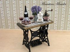 Miniature Dollhouse Old Style Sewing Table With by Minicler