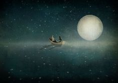 Shop for Moonlight by Maja Lindberg Gallery-Wrapped Canvas Giclee Art. Get free delivery On EVERYTHING* Overstock - Your Online Art Gallery Store! Moon Art, Fine Art, Illustration, Giclee Art, Moonlight, Art, Canvas Giclee, Prints, Kids Prints