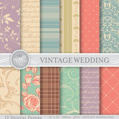 Wedding Digital Paper: VINTAGE WEDDING Printable Pattern Prints, Wedding Download, 12 x 12 Wedding Scrapbook Print Wedding Backgrounds  *Great for
