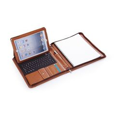 I'm a nerd and enjoy things like this: iPad Zippered Leather Padfolio With Bluetooth Keyboard.