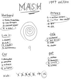 50 Things you will Never Forget from your Childhood:  1) MASH: The first time you predicted your future with 100% accuracy