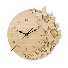 These natural wooden clocks will compliment any childs room.   • Measures 22cm high x 22cm wide • Laser cut from Bluegum Veneer (Sourced from      sustainable forests) • Quartz movement with soft ticking sound • Numbers are etched into the wood • Black hour, minute & second hands • Comes with a hook for easy hanging • Can be left natural or can be painted, stained or         varnished to match your home • Requires AA battery   *Because of the natural nature of the Bluegum Veneer ...