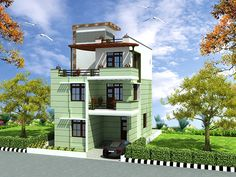 Triplex (3 floors) house design.Click on this link (http://www.apnaghar.co.in/pre-design-house-plan-ag-page-63.aspx) to view free floor plans (naksha) and other specifications for this design. You may be asked to signup and login. Website: www.apnaghar.co.in, Toll-Free No.- 1800-102-9440, Email: support@apnaghar.co.in