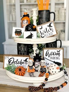 Halloween signs / hocus pocus / coffee bar / tiered tray signs / rae Dunn decor / signs / witch signs / broom parking / happy Halloween - Real Time - Diet, Exercise, Fitness, Finance You for Healthy articles ideas Halloween Wood Signs, Easy Halloween Decorations, Halloween Displays, Halloween Home Decor, Halloween House, Halloween Table, Halloween Crafts, Halloween Stuff, Halloween Makeup