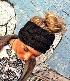 Stretchy Headband  BLACK Plain Cable Knit by ThreeBirdNest on Etsy, $18.50
